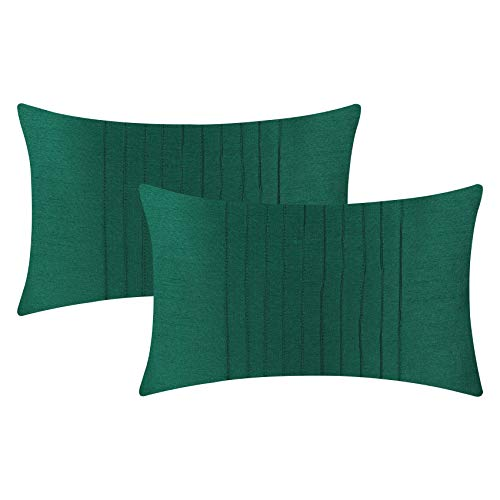 The White Petals Set of 2 Emerald Green Lumbar Pillow Cover with Pin Tucks Panel (12X16 inches, Emerald Green)