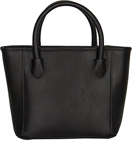 SIX SALE Basic mittelgroße Damen Henkel-Tasche Handtasche Shopper in Schwarz, schwarze Schleife, goldene Akzente, 24 x 22 x 12 cm (427-682)