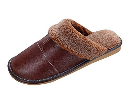 House Slip Unisex Plush Cozy Slippers On PU Coffee Fleece Liveinu Leather qBf8FF