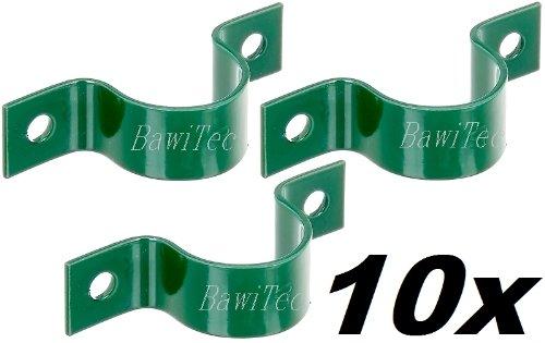 10x Rohrschelle grün Zaun Maschendraht Zaunpfosten 34mm Pfosten-Schelle