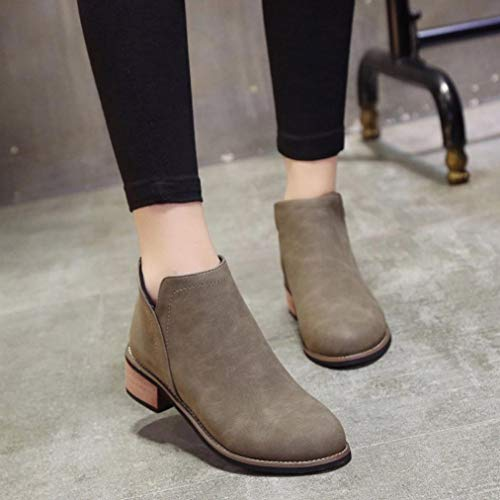 Gray Block Shoes Women Scrub Heel Casual Classic Boots Ankle Martin Heel HOMEBABY Lady Thick Boots POg6P