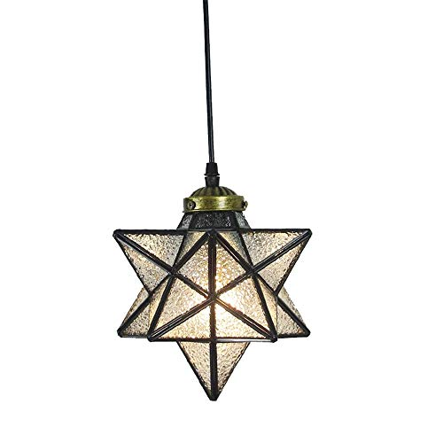 Crystal Star Pendant Light Retro Style Lamp Shade Chandelier 8'' Ceiling Hanging Droplight for Cafe Loft Bar Living Study Room Corridor Aisle (20cm) ()