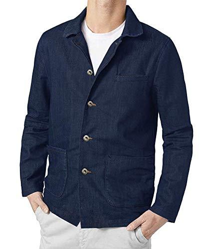 COOFANDY Men Denim Blazer Jacket Casual Suit Cotton Sport Coat Four Buttons Blazer ()
