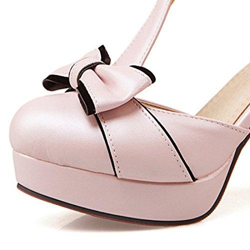VECJUNIA Ladies Elegant T-strap Bowknot Sandals Chunky Heel Shoes Pink 5JGLkhz