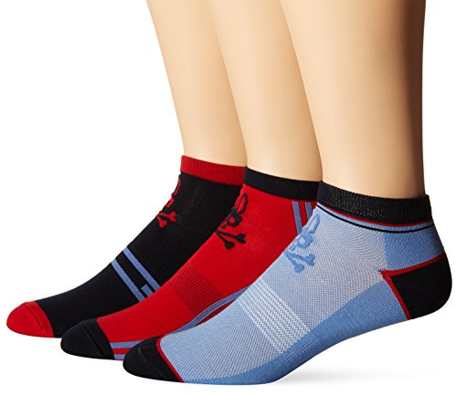 Psycho Bunny Men's Low Cut Socks, Brilliant Red, 10-13/Shoe Size 6-12 (Pack of 3)