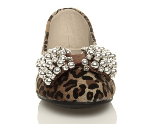 Womens Suede Leopard slippers flat jewel on loafers Ajvani diamante ladies pumps size slip shoes bow FOxnd
