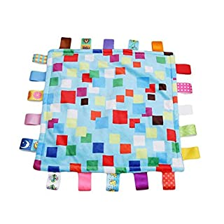 G-Tree 1PC Soft taggie Multicolour Label Baby Toy, appease Towel Cloth Toy, Colorful Blanket Mini Cute Fashion Grasping Comforting Multifunctional Blanket Great Gift for Baby (Blue)