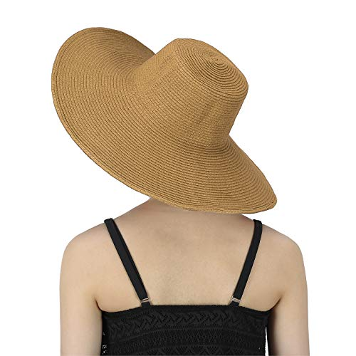 HDE Womens Striped Beach Sun Hats Floppy Wide Brim Straw Hat Cap for Festivals ()