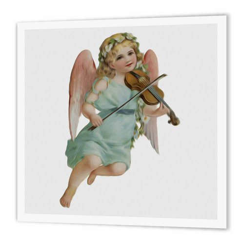 3dRose Vintage Victorian Angel Cherub Playing Violin - Iron on Heat Transfer, 8 by 8-Inch, for White Material (ht_115408_1) ()