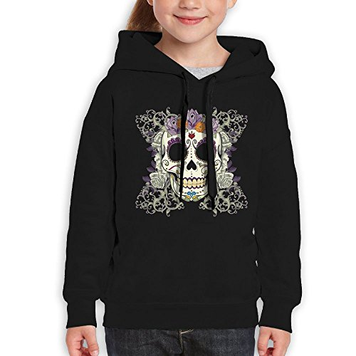 Price comparison product image Anraglan Vintage Skull and Flowers Girls Long Sleeve Pullover Hooded Sweatshirt Black Size M