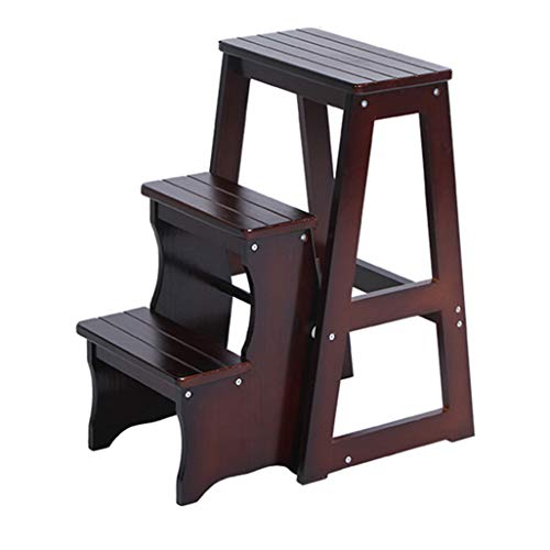 (Folding 3 Tread Step Stool/Ladder / Chair, Wood Household Stair Chair Safety Stepladder Seats Widened High Stool Home Garden Tool Height 64cm Heavy Duty Max. 150kg)