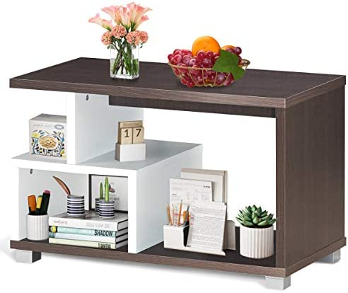 Modern Coffee Table for Living Room,Tea Sofa Table Side Table with Storage Shelf, Space Saving Furniture for Home Office Apartment Hotel,Brown White