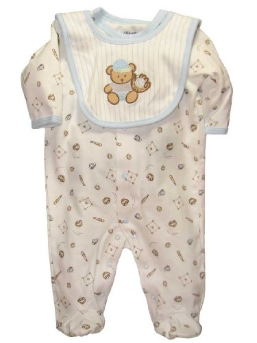 Little Me Layette Footie, Baseball, Ivory Multi