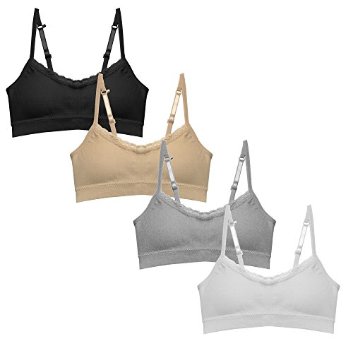 Popular Girl's Seamless Cami Bra with Adjustable and Convertible Straps - 4 Pack - S