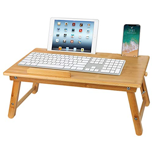 Folding Laptop Desk, Bamboo Notebook Table Dorm Desk, Bed Desk Bed Serving Tray Breakfast Table Foldable Coffee Tea Table Portable Bamboo Laptop Stand with 5 Tilting Top Angles & Drawer