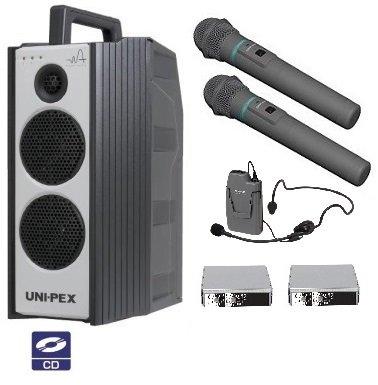 ユニペックス 300MHz帯防滴形ハイパワーワイヤレスアンプ/シングル/CD付 WA-371CD+WM-3400X2+WM-3130+SU-350X2 B01EF3EOXG