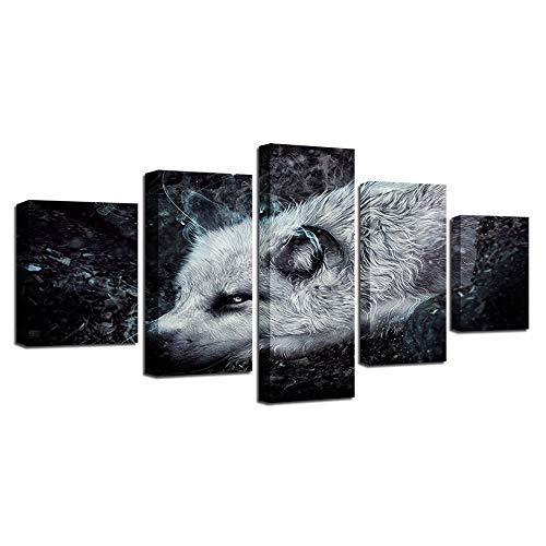 hasta un 70% de descuento Frame 20x35 20x45 20x55cm BAIF 5 Piezas de de de Pintura de la Lona Moderna Sala de EEstrella decoración de la Parojo Pintura del Arte 5 Piezas HD d Animal Lobo blancoo Cochetel Lienzo Modular Marco de Imagen de Arte  descuento de ventas