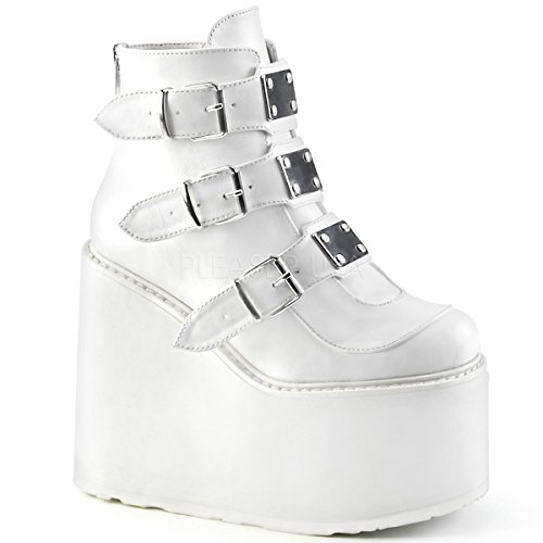 Boots High Platform Knee White (Demonia Women's Swing-105 Ankle-High Boot)