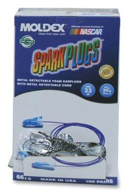 Moldex Sparkplugs Earplugs in PlugStation Dispenser Box - Metal Detectable Corded (100 Pairs per Dispenser) (1 Dispenser Box) - AB-266-2-71 by Miller Supply Inc