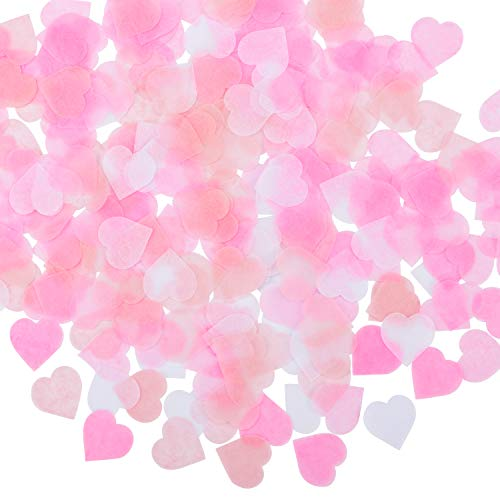 Whaline 1 Inch Heart Paper Tissue Confetti 6000 Pieces Party Circle Paper Table Confetti for Balloon, Wedding, Valentine