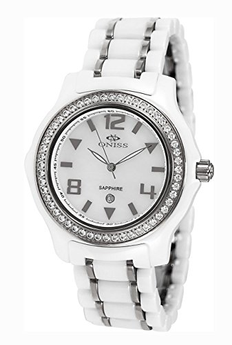 Oniss Swiss Movement - Oniss Paris Women'S ON806-L Wht  Ladies, High Tech Ceramic Case and Band with Stainless Steel Middle Links ,Swiss Movement, Sapphire Crystal, Mop Dial,52 Austrian Crystals on Bezel - Blalck Watch