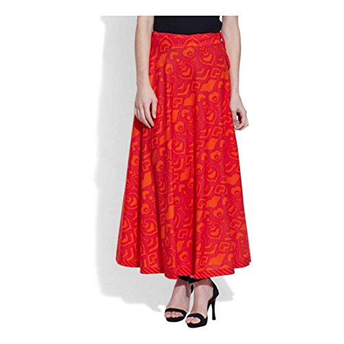 Red Pleated Women's Me Handicrfats Indian Export Very Printed Skirt OFqUxZ7w