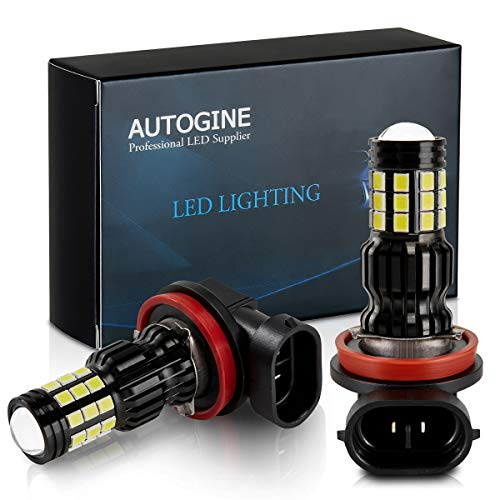 AUTOGINE 2800 Lumens Extremely Bright H11 H8 H16 LED Fog Light Bulbs for DRL or Fog Lights, DOT Approved, 6000K Xenon White (Pack of 2)