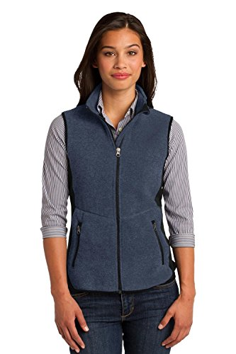 Port Authority Ladies R-Tek Pro Fleece Full-Zip Vest>XL Navy Heather/Black L228