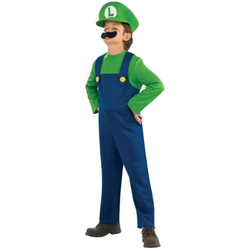 Mario Bros Costume For Toddler (Super Mario Bros. - Luigi Child Costume size Medium 8-10)