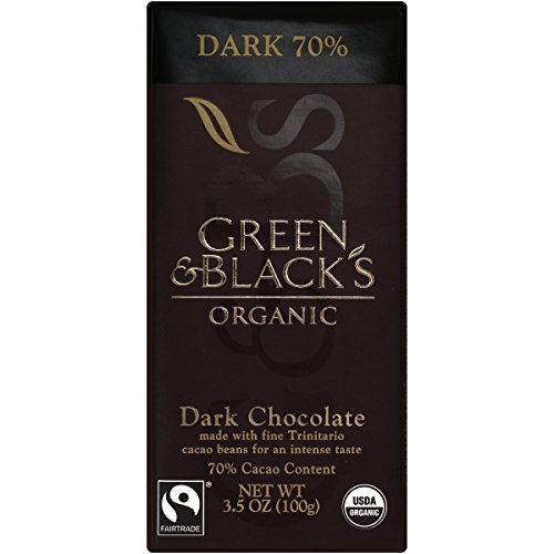 Green & Black's Organic Dark Chocolate, 70% Cacao, 3.5 Ounce Bars (Pack of 10)