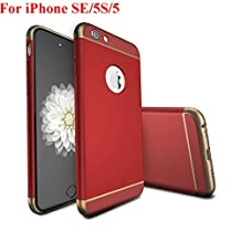 iPhone SE Case, iPhone 5 Case, iPhone 5S Case, Asstar Luxury 3in1 Ultra-thin Hard Plastic Premium Shock Anti Scratch Shockproof Cover Skin Hard PC Back Case for iPhone 5S (Red)