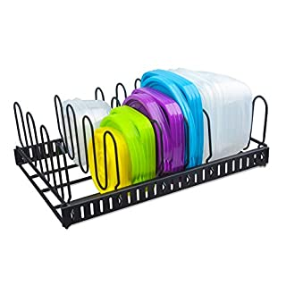 Metal Food Container Lid Organizer&Adjustable 6 Dividers Storage Container Lid Holder Rack for Cabinets, Cupboards, Pantry Shelves, Drawers to Keep Kitchen Tidy,Black(Patent Pending)