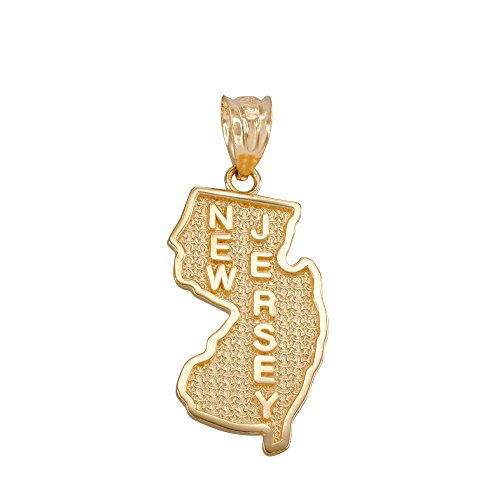 (New Jersey State NJ Map Charm Pendant in 14k Yellow Gold)