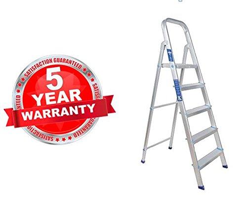 PlutoMax Heavy Duty Folding Aluminium Ladder - Home Pro 3, 4,5 Steps + Platform