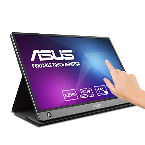 Asus Zenscreen MB16AMT 15.6' Full HD Portable Monitor Touch Screen IPS Non-Glare Built-in Battery and Speakers Eye Care USB Type-C Micro HDMI W/Foldable Smart Case