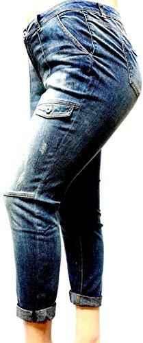 (JEANS FOR LOVE Vanilla Star Women's Plus Size Medium-Wash Stretch Double roll Cargo Denim Jeans (18, Blue-Medium-Wash))