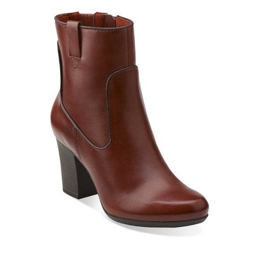 Clarks Balade Vigne Womens Rouille En Cuir Mode-cheville Boot Us11