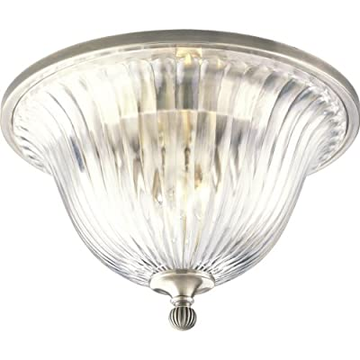 Progress Lighting P2819-101 2-Light Close-To-Ceiling Fixture, Classic Silver