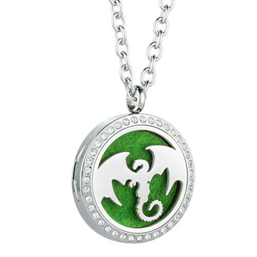 Dragon Drive Cards (JOYMIAO Essential Oil Diffuser Stainless Steel Necklace with Magnetic Locket Pendant Jewelry 8 Pads)