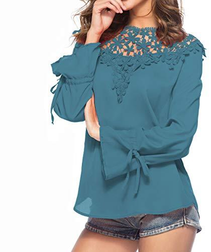 et Chemisiers Shirts Tops Haut Printemps T Longues Automne Femmes pissure Mousseline Col Rond Shirt Dentelle Vert Mode JackenLOVE Manches Casual Blouses 85HqwA