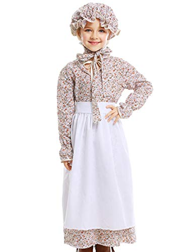A&J DESIGN Kids Girls Prairie Costume Colonial Dress with Hat (Brown, Large)