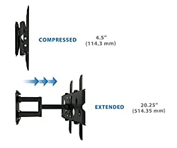 Mount-It! TV Wall Mount Full Motion and Heavy-Duty, Swivels and Tilts, for LCD LED Plasma 32'' - 60'' Screens, 175 lb Weight Capacity, 6 Ft. HDMI Cable Included, Black (MI-310B)