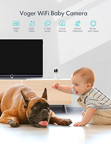 Security Camera Indoor, Voger 1080P WiFi Camera for Baby/Pet/Nanny Motion Detection, Night Vision, Two-Way Audio, Compatible with Alexa/Cloud Service