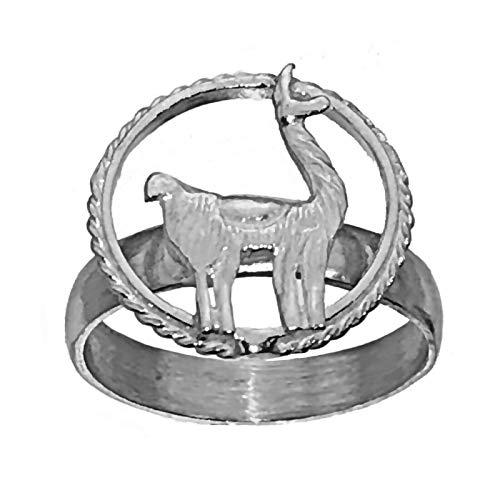 (prince of diamonds New Llama 925 Sterling Silver Jewelry Ring Labyrinth cria Lama glama Animal)