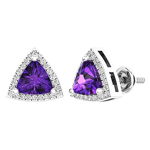 Dazzlingrock Collection 14K 6 MM Trillion Amethyst & Round White Diamond Ladies Halo Stud Earrings, White Gold