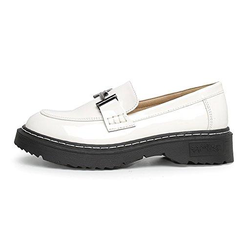 Meeshine Frauen Plattform Penny Loafers Comfort Slip On Kleid Schuhe Weiß