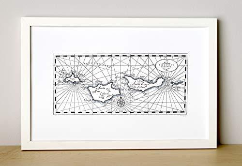 Channel Islands, Letterpress Map Unframed Print