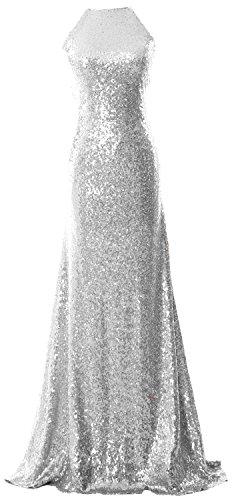 MACloth Women Halter Sequin Long Bridesmaid Dress Cowlback Evening Formal Gown Plateado