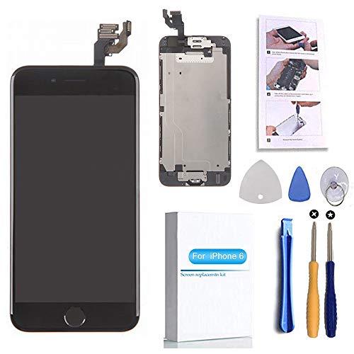 [해외]화면 교체 호환 아이폰 6 블랙 4.7 (인치) LCD 디스플레이 터치 디지타이저 조립 수리 키트 > 홈 버튼 귀 스피커 전면 카메라 속성 센서, 수리 도구 / Screen Replacement Compatible iPhone 6 Black 4.7(inch) LCD Display Touch Digitizer Asse...