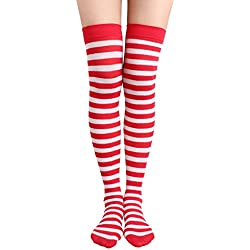 Jasmino Women Striped Thigh High Socks, Colorful Over Knee Hosiery Stockings (Red White)